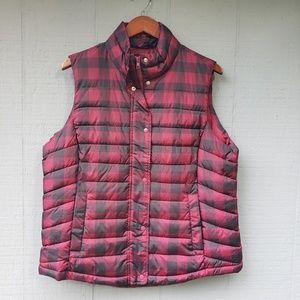 Gap Buffalo Check Plaid Puffer Vest Red XL